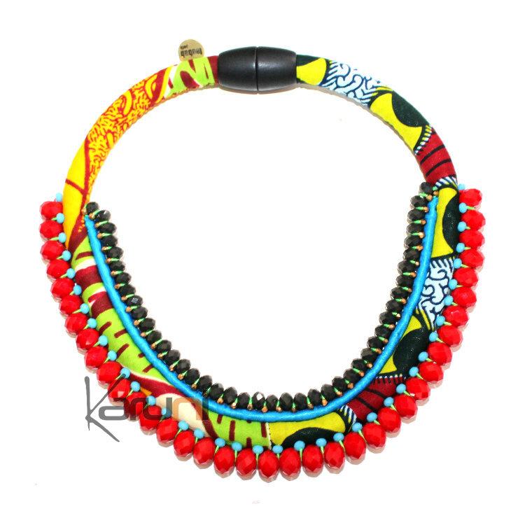 Créateurs Africain Collier Plastron en tissu wax Perles Facettes TOUBAB  PARIS Panama Rouge