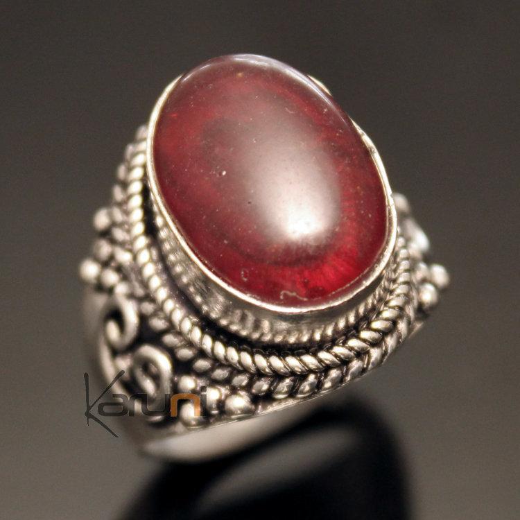 bijoux ethniques indiens n pal bague n palais plaqu argent ronde sulabh 05 p te de verre rouge. Black Bedroom Furniture Sets. Home Design Ideas