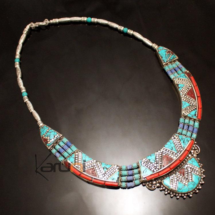 4bc4c6bf91176d Collier Turquoise Racine de Corail 14 Perles ais Plaqué Argent. Bijoux  Ethniques Indiens Artisanaux ...