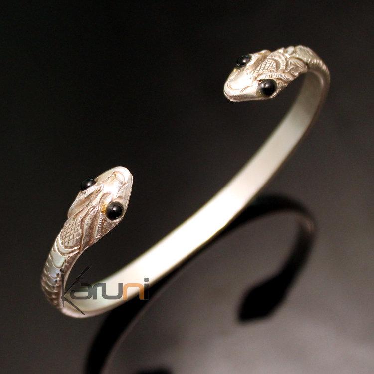 bijoux ethniques indiens bracelet en argent massif 925 nepal 58 jonc serpent yeux onyx. Black Bedroom Furniture Sets. Home Design Ideas
