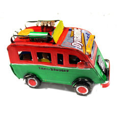 Voiture de Collection Miniature Bus Taxi-Brousse Canette Recyclée Métal 15 cm Madagascar