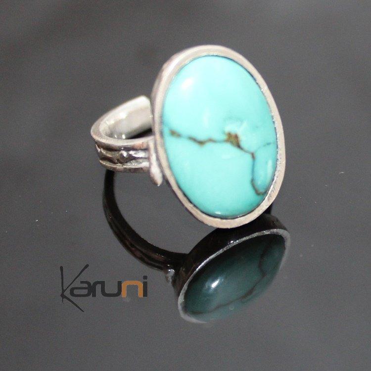 Bijoux Ethnique Argent Turquoise : Bijoux touareg ethniques bague en argent ovale grav?e