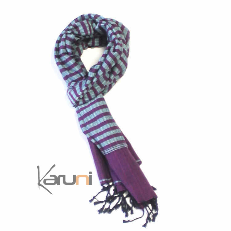ff61f0273881 Krama Cheche Foulard Echarpe Coton Homme Femme Cambodge Syrana Violet   Bleu  160x55 cm
