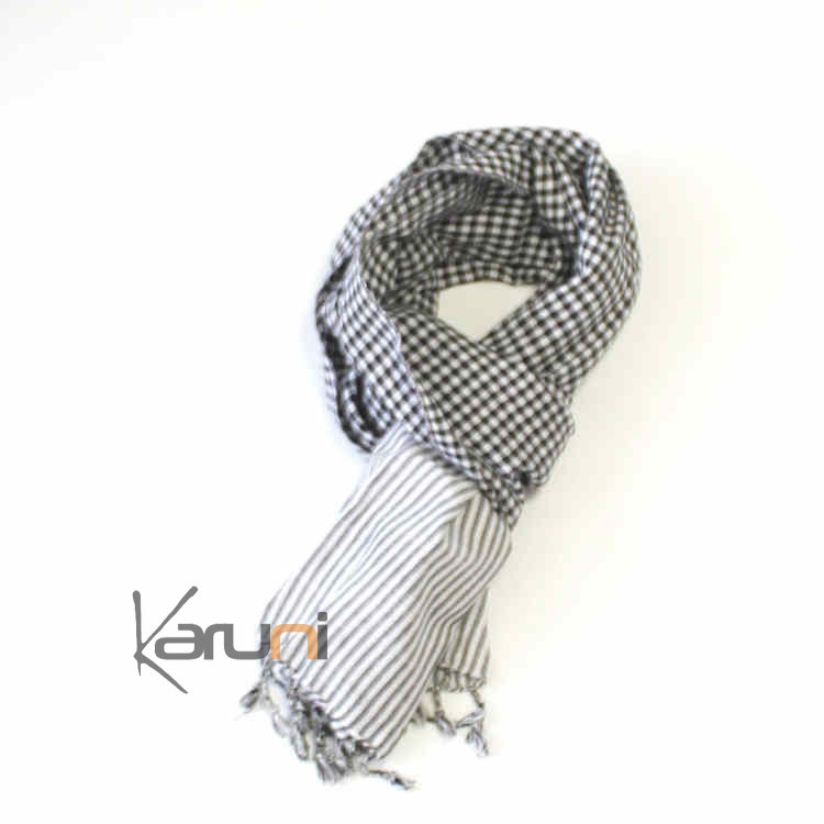 super cute stable quality well known Krama Cheche Foulard Echarpe Coton Homme/Femme Cambodge Syrana blanc /noir  180x55 cm