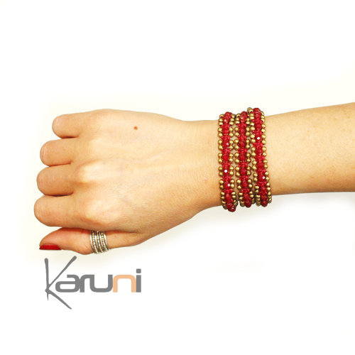 Bracelet multi rangs 3 tours perles bordeaux tissus cambodge