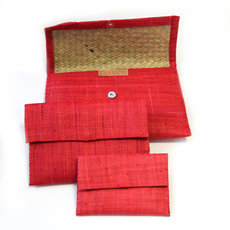 Pochette raphia Lot de 3 - Rouge
