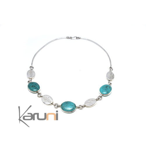 Collier Karuni argent et turquoise