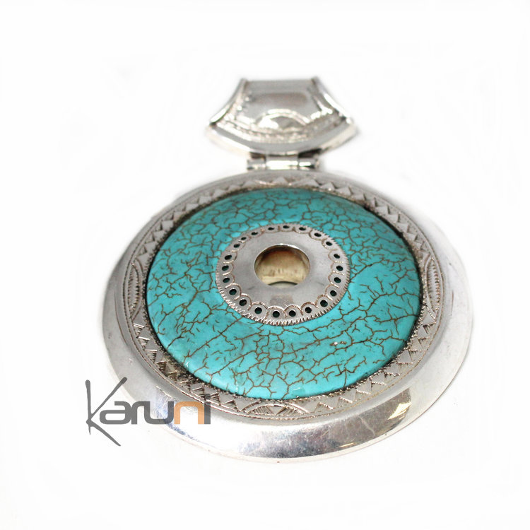 En Argent Turquoise Rond Et Pendentif Collier 12 Howlite Pierre Nn8Ovwm0