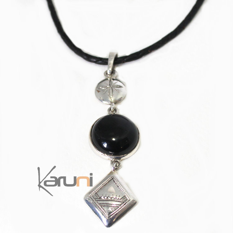 collier argent pierre noir