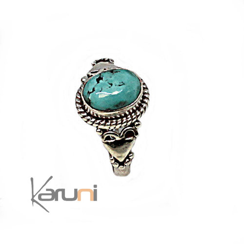 Bague Argent Massif 925 Nepal Turquoise 1089