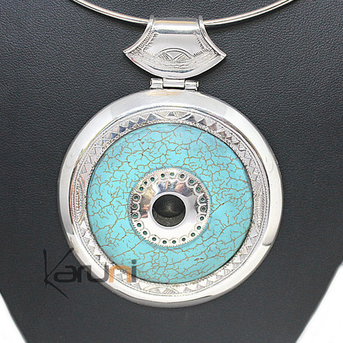 Collier Pendentif Argent Massif Pierre Howlite Turquoise 7044