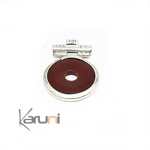 Collier Pendentif Argent Massif Agate Rouge 7049