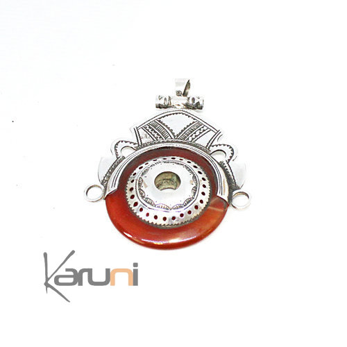 Collier Pendentif Argent Massif Agate Rouge 7050