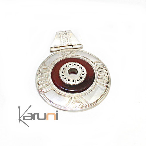 Pendentif Argent Massif Agate Rouge Round 7052