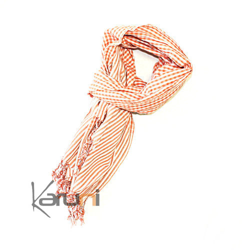 Krama Cheche Foulard Echarpe Coton Orange 160 X 65 cm