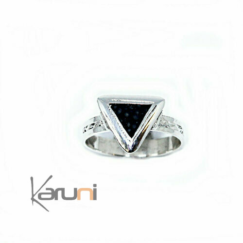 Bague Argent Galuchat triangle 1160