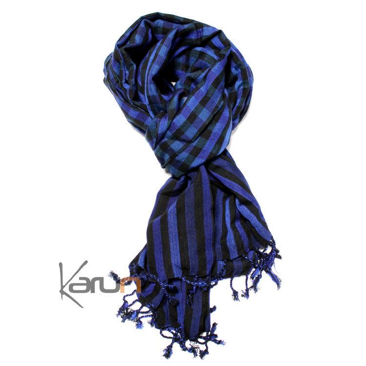 Krama cheche foulard echarpe coton homme femme cambodge bassac sarany shop  grands carreaux bleu noir jpg 6c5b36aa223