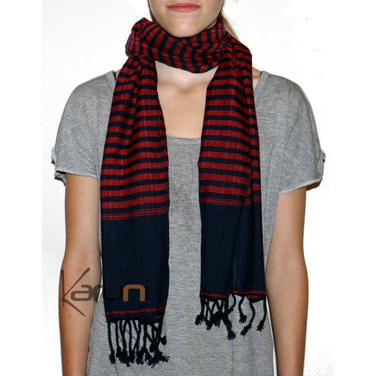 Krama Cheche Foulard Echarpe Coton Homme Femme Cambodge Kim Sarany Shop  Rayures Noir Rouge 160x48 cm 02b0f9c6ad7
