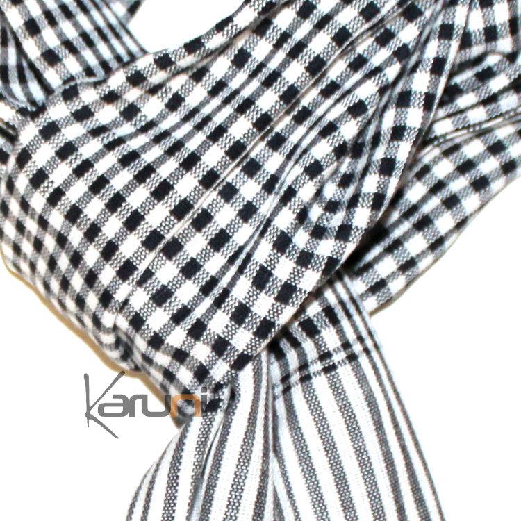 608965e39c1 Krama Cheche Foulard Echarpe Coton Homme Femme Cambodge Bassac Sarany Shop Carreaux  Blanc Noir