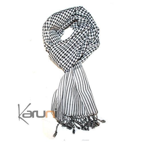 ... Krama Cheche Foulard Echarpe Coton Homme Femme Cambodge Bassac Sarany  Shop Carreaux Blanc Noir a108348a4c3
