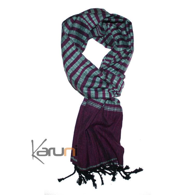4eec3fe0042 Krama Cheche Foulard Echarpe Coton Homme Femme Cambodge Kim Sarany Shop  Rayures Violet Vert d Eau ...
